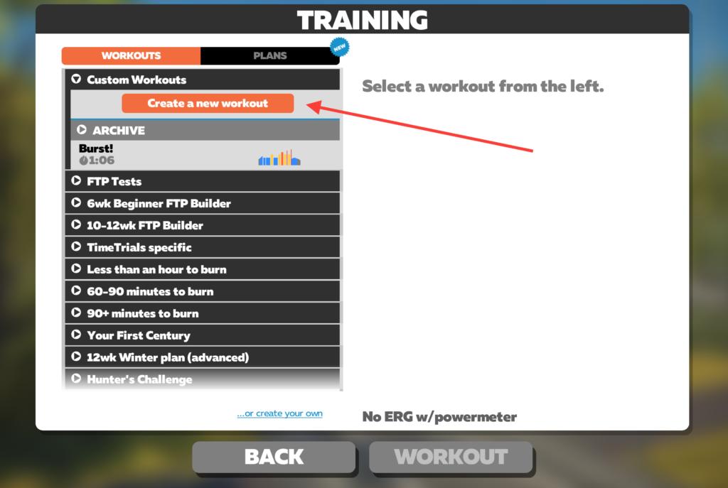 Zwift Workout Menu Screen - 360velo